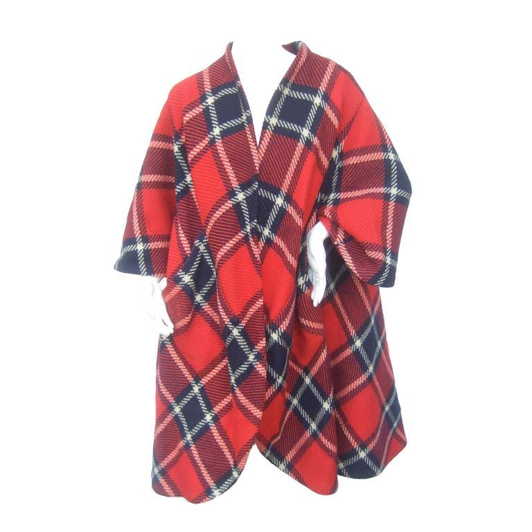 1960s Pauline Trigere Mod Plaid Wool Swing Coat