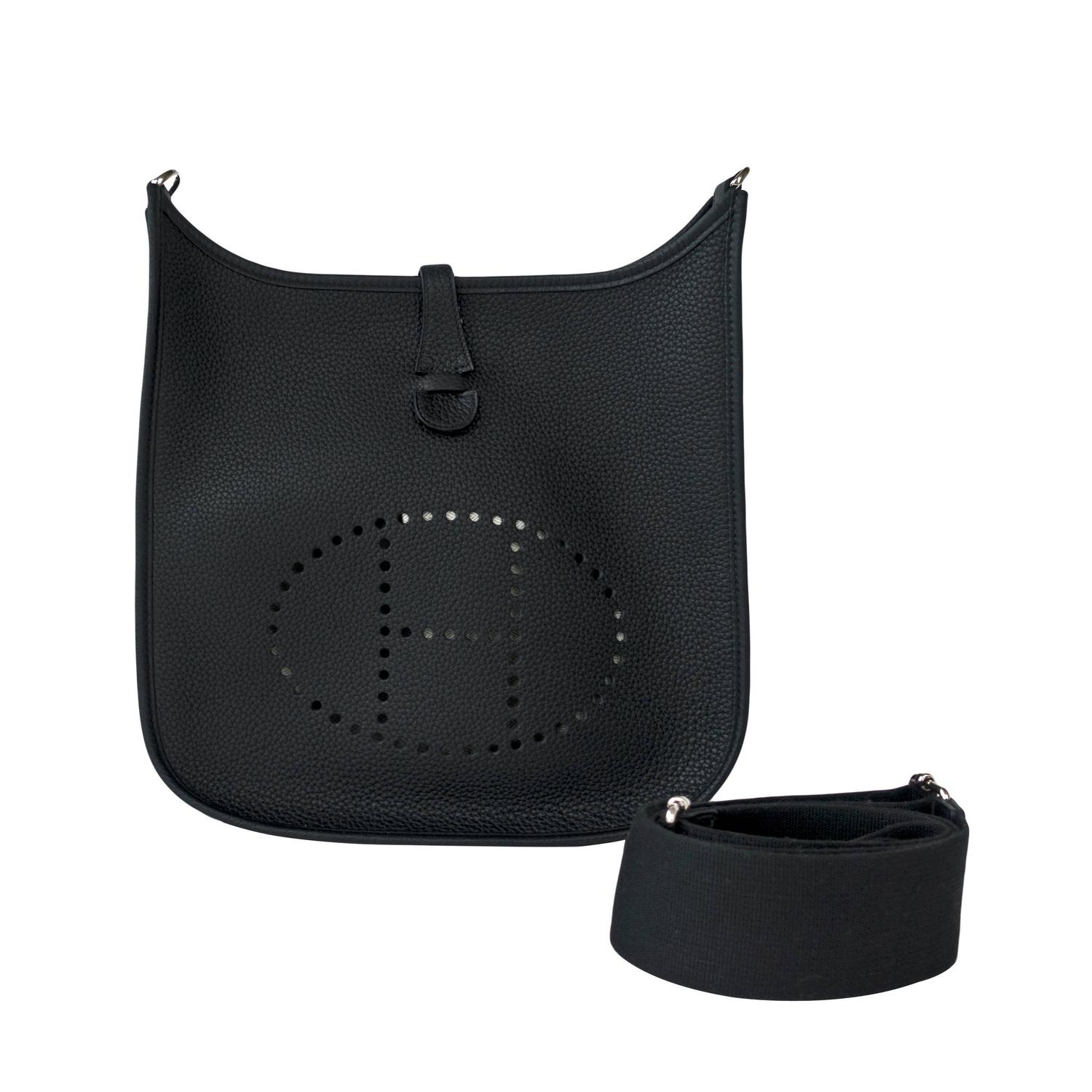 replica hermes handbags - Hermes Black Evelyne PM Cross-Body Messenger Bag Chic at 1stdibs