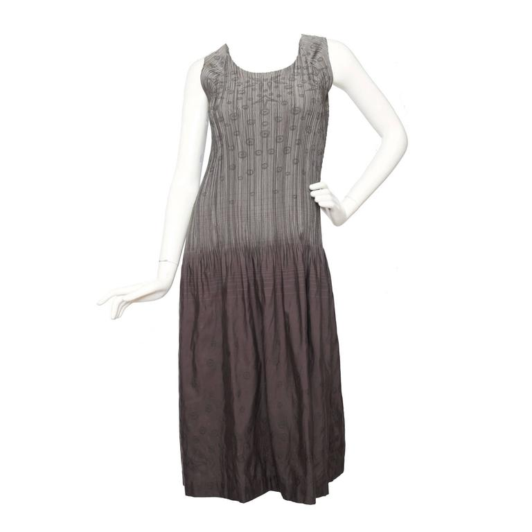 1980s Issey Miyake Grey Pleated Dress