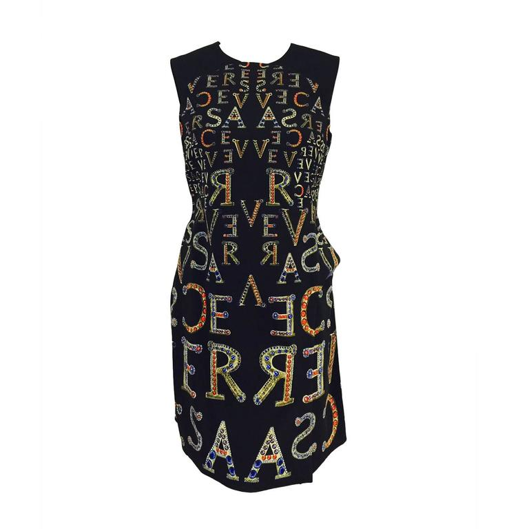 Gianni Versace Bejeweled Logo Print Short Sleeve Sheath