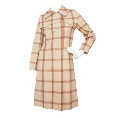1960s Givenchy Beige Checkered Wool Coat