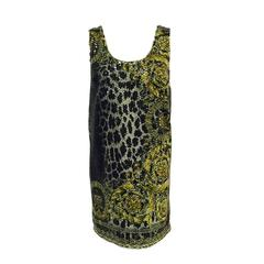 Versace Baroque Print Sleeveless Tunic Dress With Clear Sequins