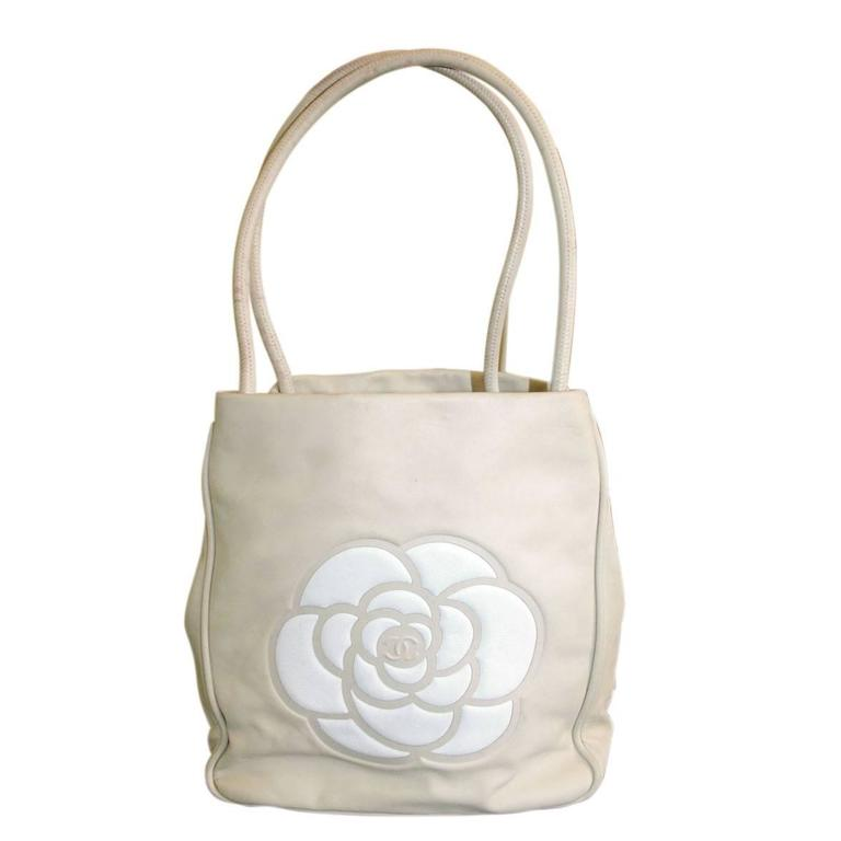 Chanel Tan and White Lambskin Camillia Flower Logo Tote Bag