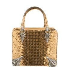 Bottega Veneta Intrecciato Silver Hardware Top Handle Satchel Bag
