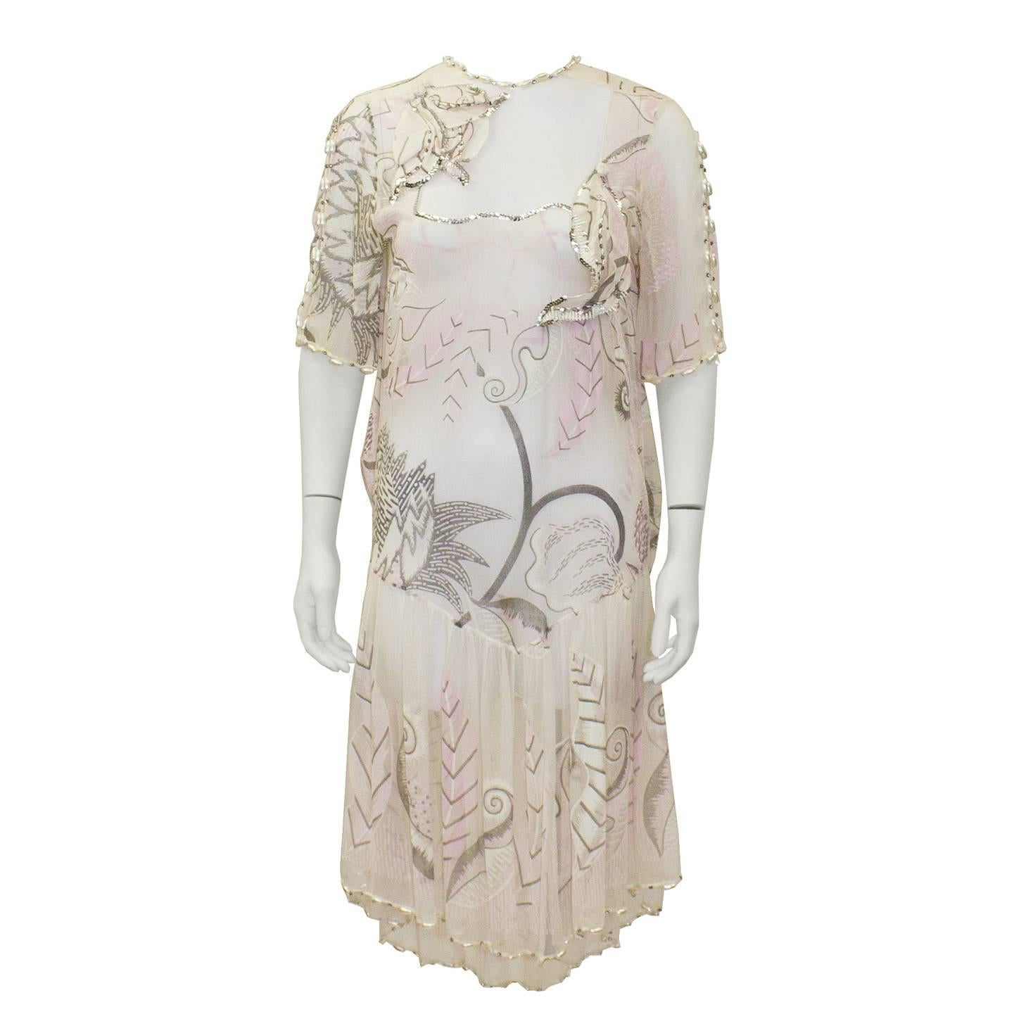 1980's Zandra Rhodes Pink Silk Chiffon Dress with Pearls