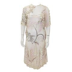 1980's Zandra Rhodes Pink Silk Chiffon Dress with Pearls