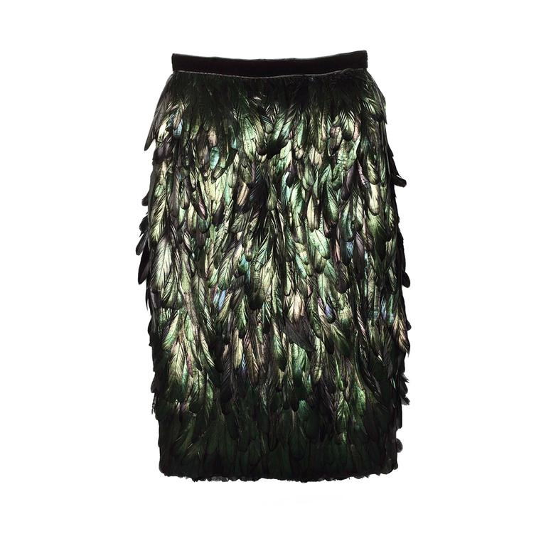 Gucci Silk Feather Dark Green Skirt For Sale