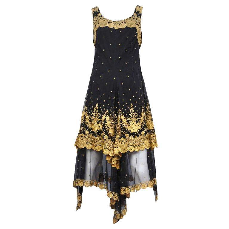 Christian Lacroix Gold Embroidered Gown  For Sale