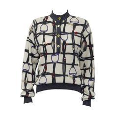 1970's Celine Equestrian Print Cashmere Sweater