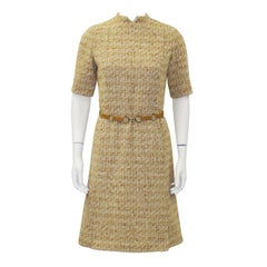 1960's MOD Tweed Dress With  Suede Link Belt