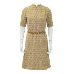 1960's MOD Tweed Dress With  Suede Link Belt