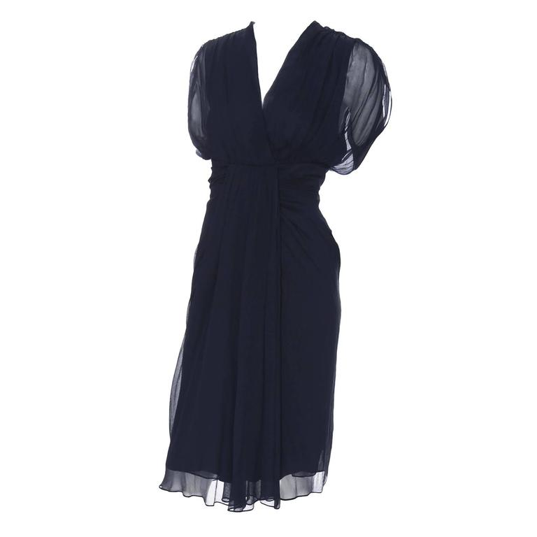 cf3e76947cc6 Diane von Furstenberg Silk Chiffon Tull Dress Navy Blue Draping Size 8 For  Sale