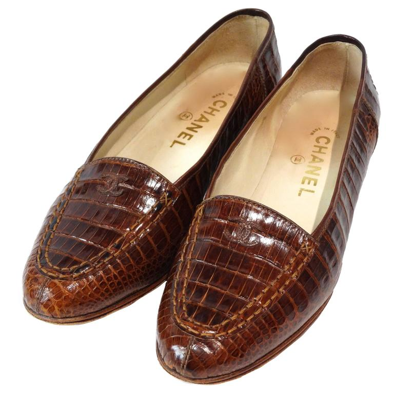 Rare 1980s Chanel Crocodile Loafer For Sale
