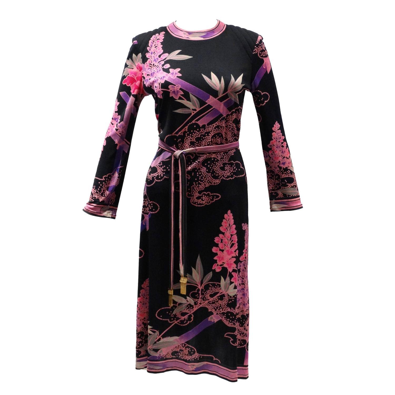 1970s Leonard Paris Silk Jersey Dress With Tassle Belt For