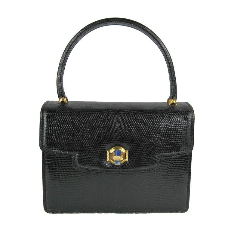 Vintage Gucci 1960s Black Leather Kelly Hand Bag At 1stdibs