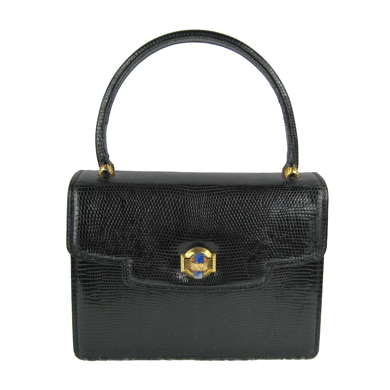 e2d038eda1cc3 Vintage Gucci 1960s Black Leather Kelly Hand Bag
