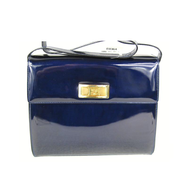 Escada Blue Patent Leather Kelly Hand Bag Never Used 1990s 1