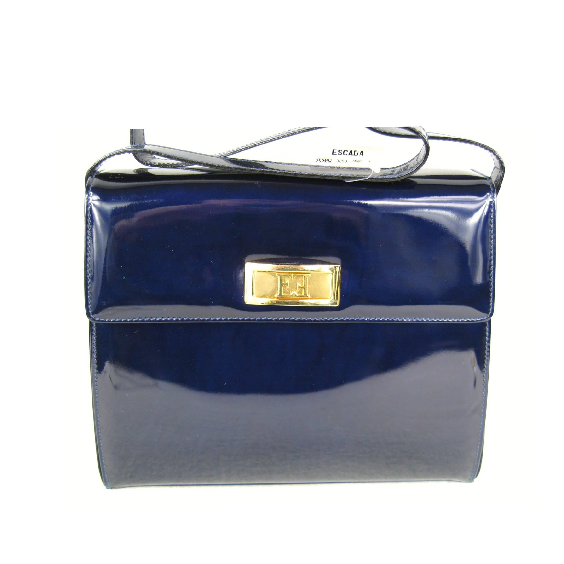 1stdibs 1990s Escada Blue Patent Leather Kelly Hand Bag Never Used Tags Attached i8Ysz