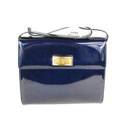 Escada Blue Patent Leather Kelly Hand Bag Never Used 1990s
