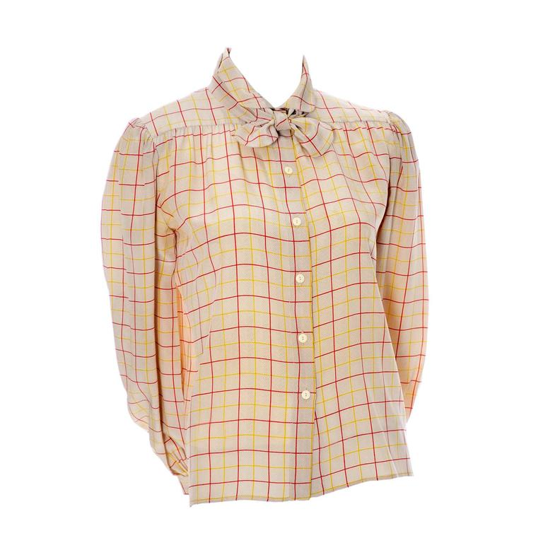 86c22483214a03 Valentino Vintage Blouse Silk Plaid Italy Bow Top For Sale at 1stdibs