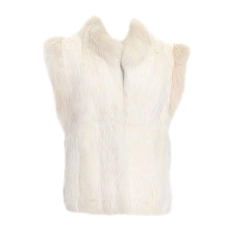 1980s Vintage Ivory Winter White Rabbit Fur Vest With Satin Lining