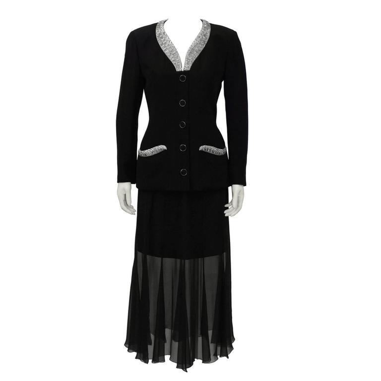 1990's Karl Lagerfeld Black Skirt Suit with Beaded Collar