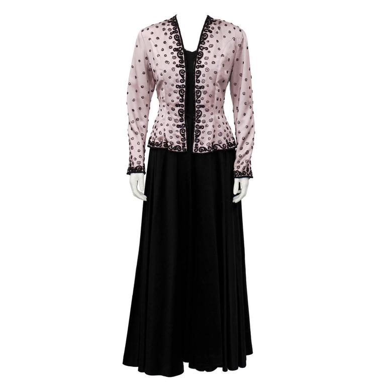 1940\'s Black Satin Gown with Pink Beaded Jacket For Sale at 1stdibs