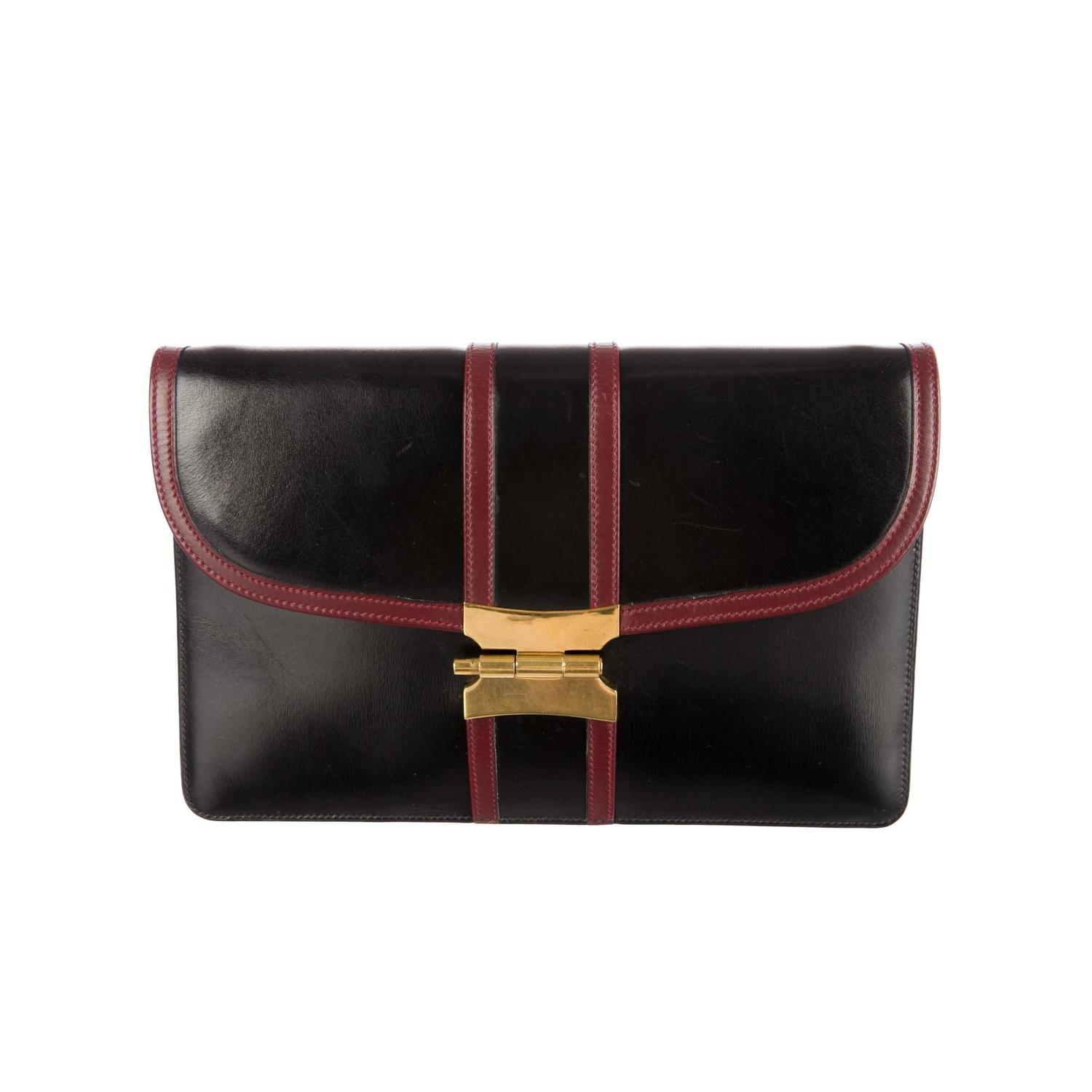 small brown handbag - hermes black and red box leather rouge h flap envelope clutch bag ...