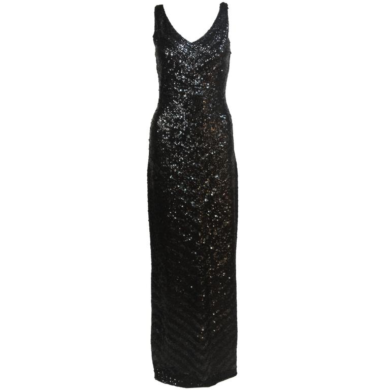 GENE SHELLY'S INTERNATIONAL Black Sequined Stretch Wool Gown Size 12