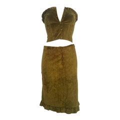 1990s Alberta Ferretti green leather top and skirt