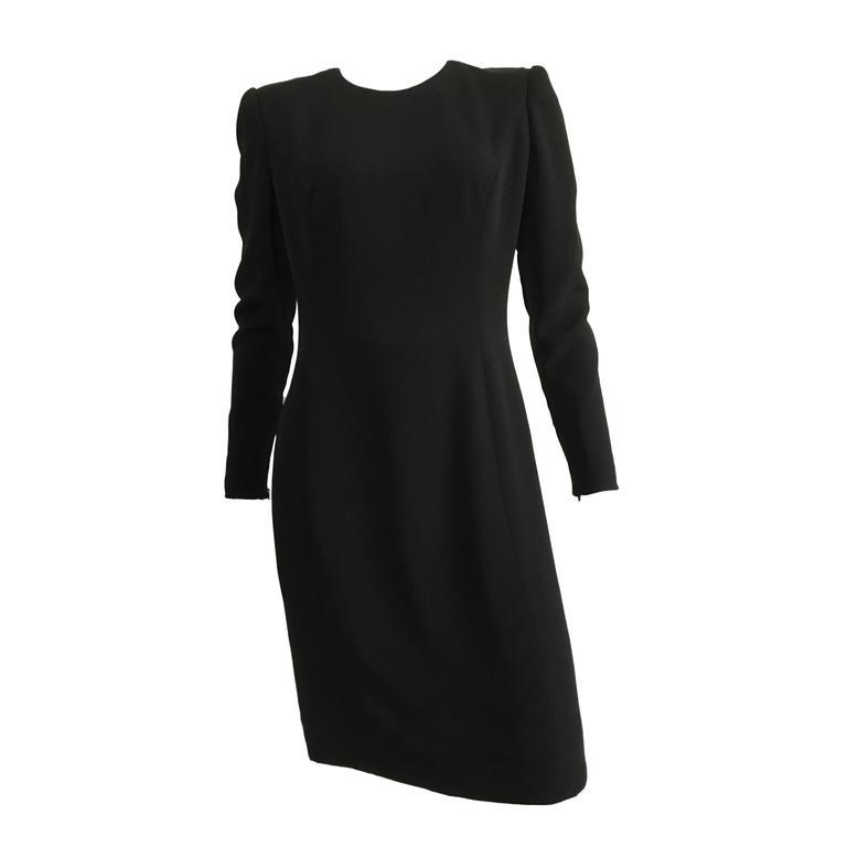 Carolina Herrera 1990s Black Silk Sheath Dress Size 6.