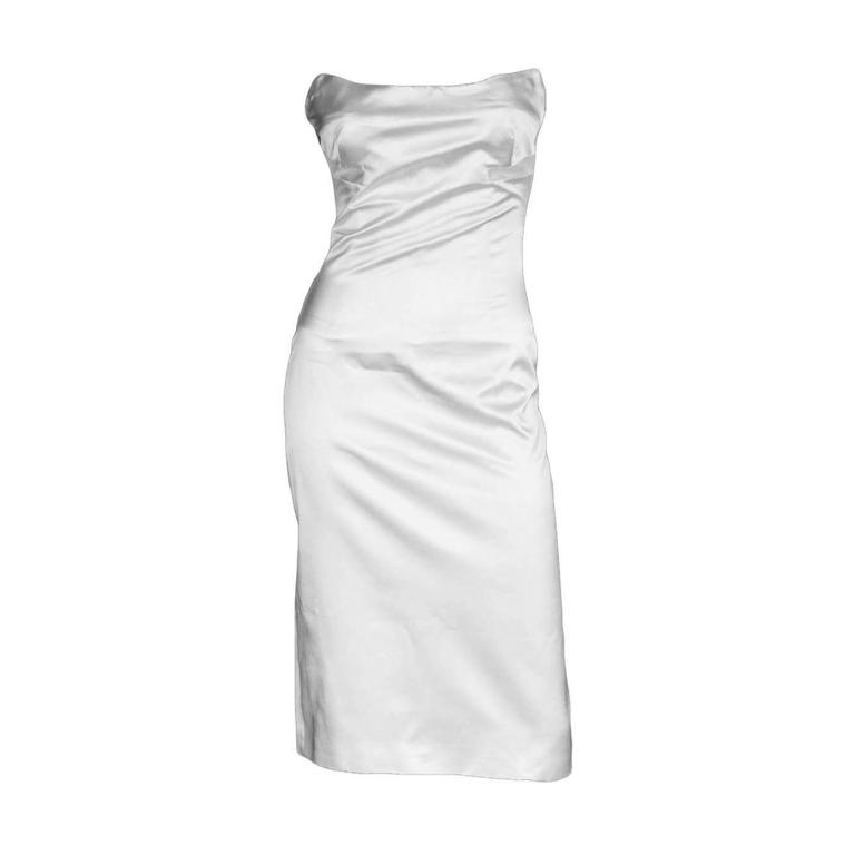 That Iconic Tom Ford Gucci SS 2001 White Silk Corset Runway Dress In Italian 44! 1