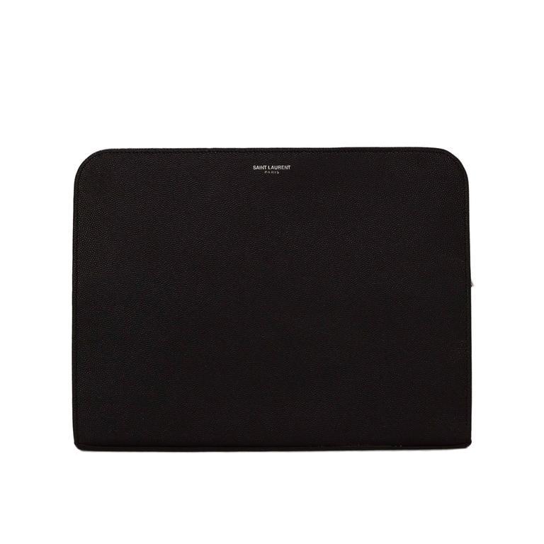 Saint Laurent Black Leather iPad Case/Clutch Bag rt $560 1