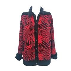 1990s Yves Saint laurent Rive Gauche black and red virgin wool cardigan