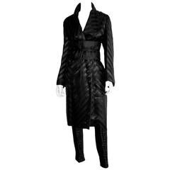 Iconic Tom Ford Gucci FW 2002 Black Silk Kimono Runway Coat, Pants & Obi Belt!