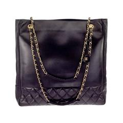 Chanel Black Tote Bag With Cc And Quilted Details