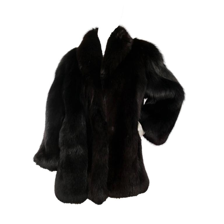 1980s Black Dyed Blue Fox Fur Coat 1