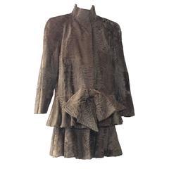 1980s James Galanos Taupe Swakara Drop-Waist Style Coat w/ Large Bow