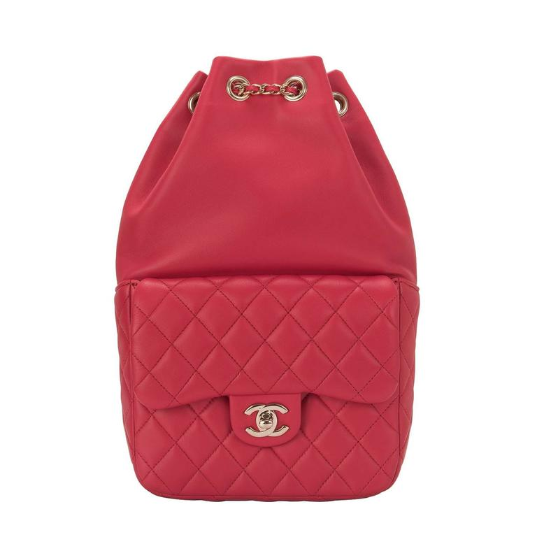 Chanel Red Lambskin Flap Backpack For Sale