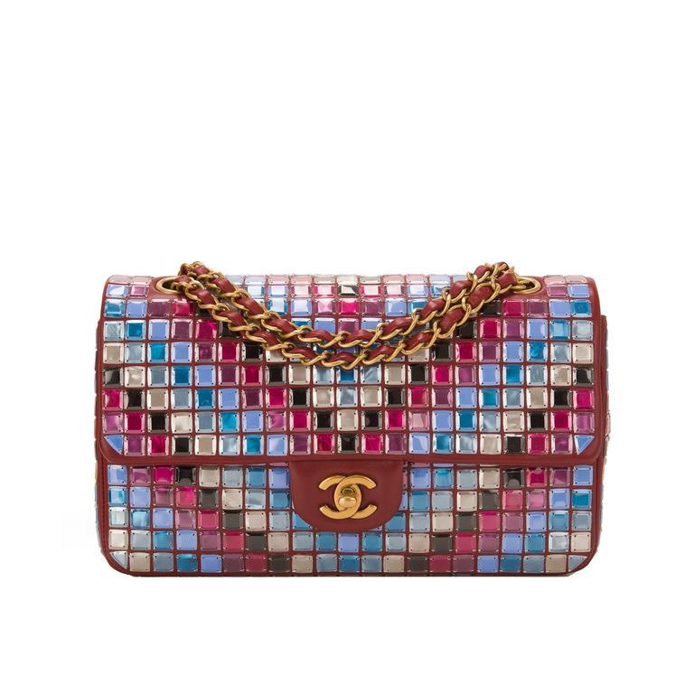 Chanel Runway Red Multicolor Lambskin Medium Mosaic Flap Bag For Sale