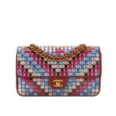 Chanel Runway Red Multicolor Lambskin Medium Mosaic Flap Bag