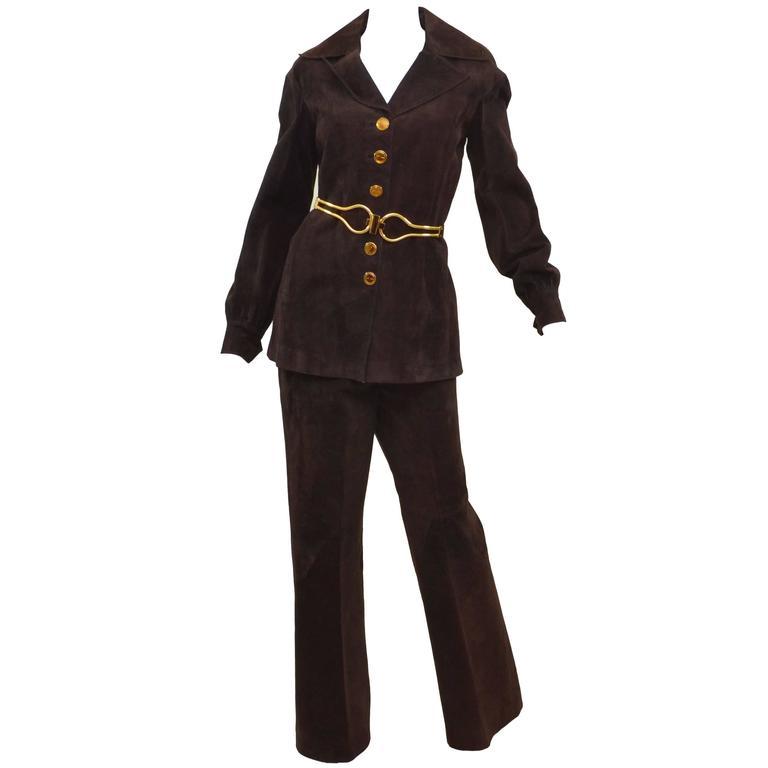 Gucci Vintage Jackie O 1970s Suede Leather Pant Suit w/ Belt Jet Set Ensemble  1