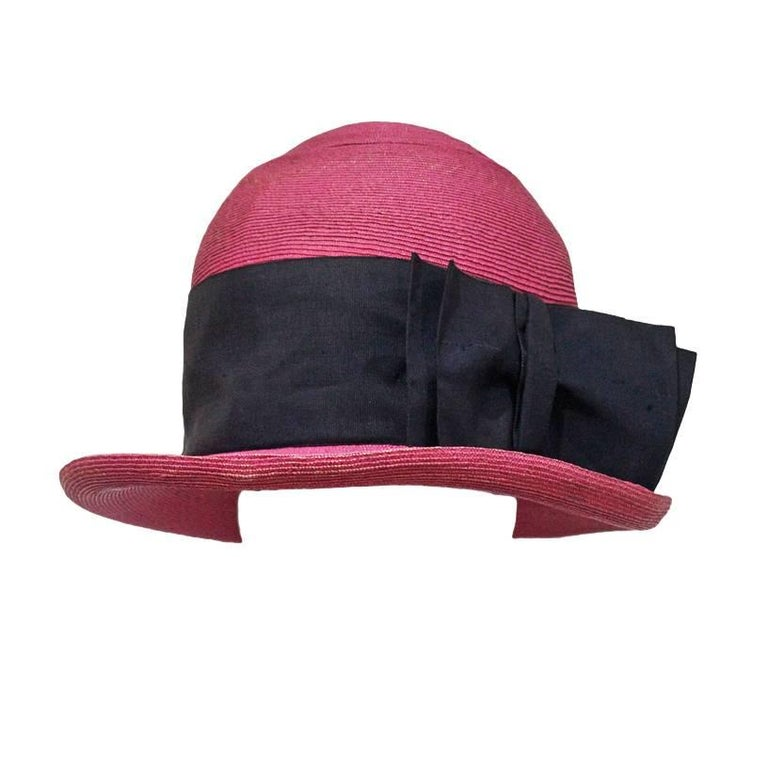Vivienne Westwood mens oversized pink straw hat, c.1990s For Sale