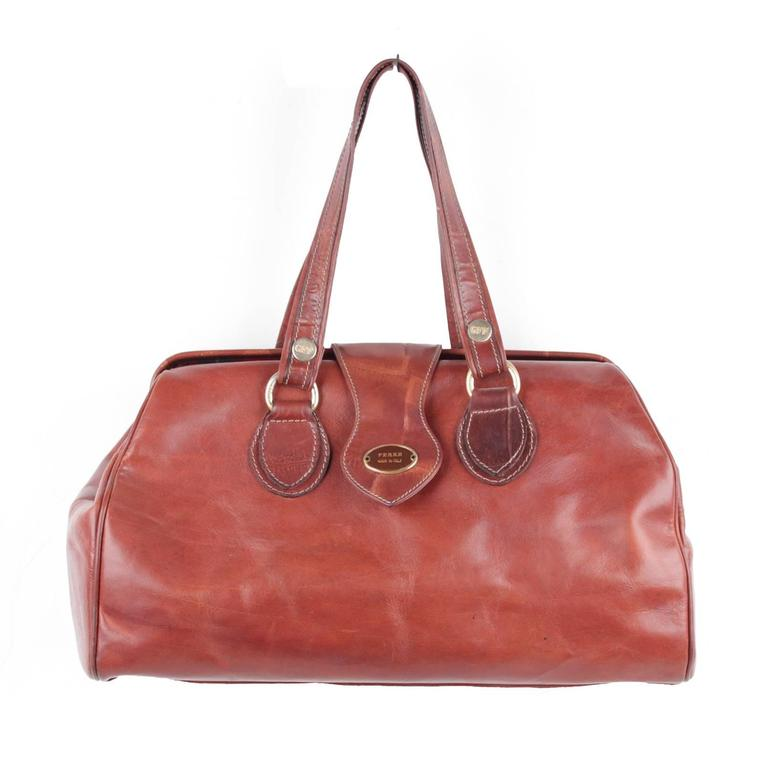 Gianfranco Ferre Italian Brown Leather Doctor Bag Tote