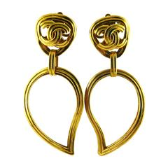 Chanel Vintage Stylized Heart Dangling Earrings with CC Logo Fall 1995