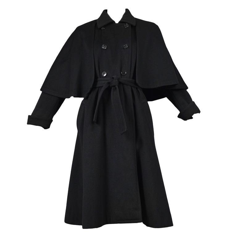 5685285a98c6 Yves Saint Laurent Black Belted Cape Coat For Sale at 1stdibs