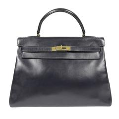 Hermes Navy Blue Box Calf Vintage Kelly- 32 cm