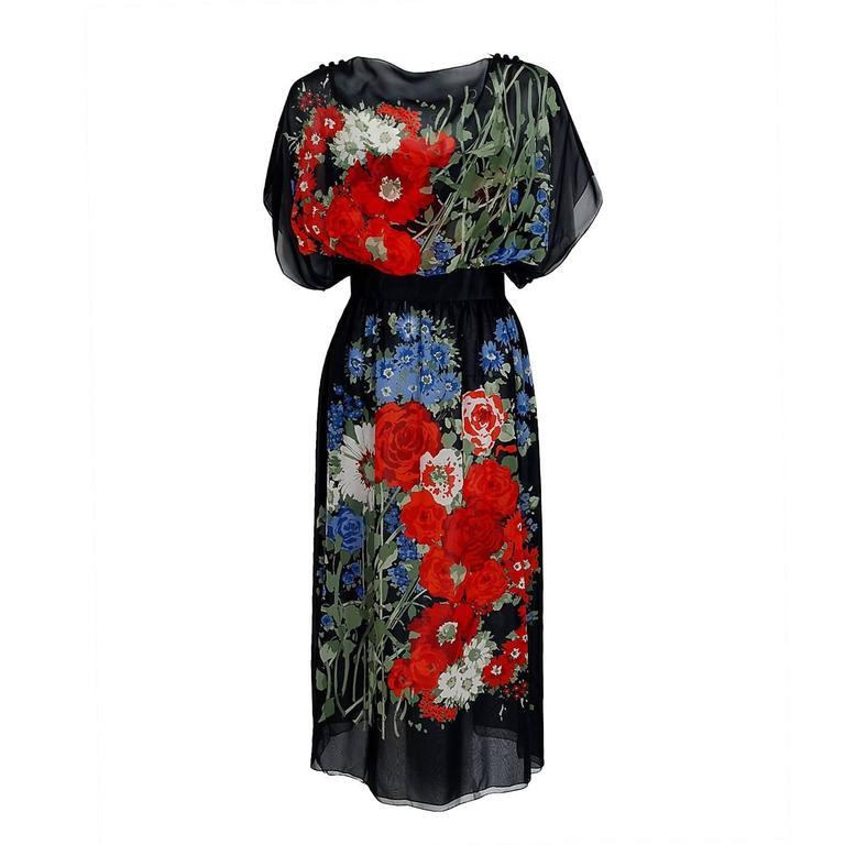 1970's Pauline Trigere Floral Garden Print Silk-Chiffon Batwing Goddess Dress For Sale