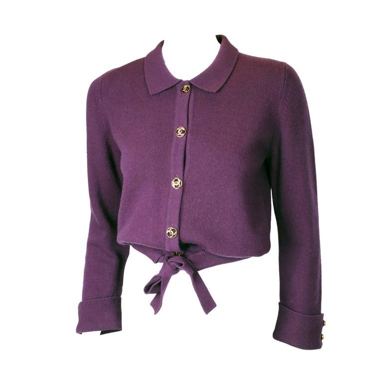 Chanel 100%Cashmere Purple/Plum Sweater Cardigan w/CC Logo Buttons & Waist Tie 1