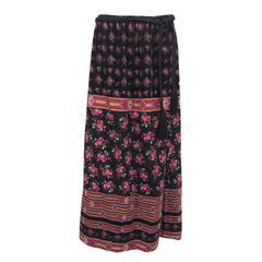 Lanvin floral printed velvet maxi skirt with tassel cord belt 1970s
